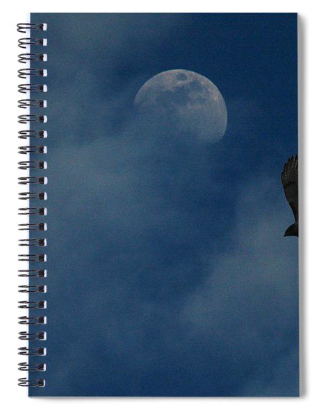 Hawk And Moon Coming Out Of The Mist Spiral Notebook