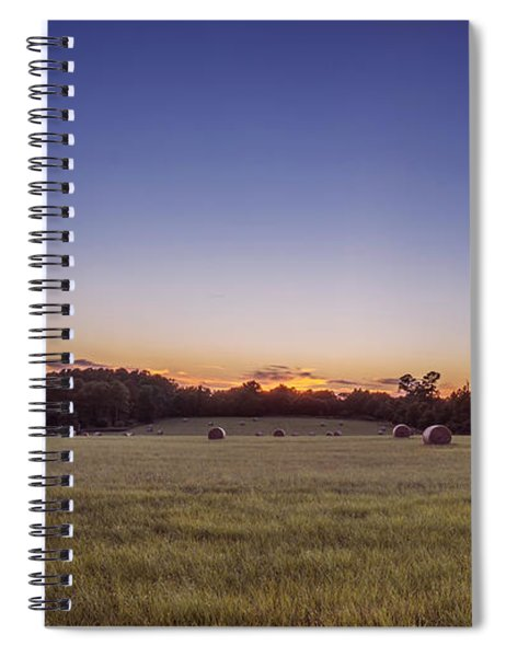 Hay Bales In A Field At Sunset Spiral Notebook