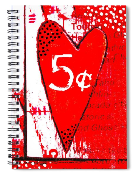 Heart Five Cents Red Spiral Notebook