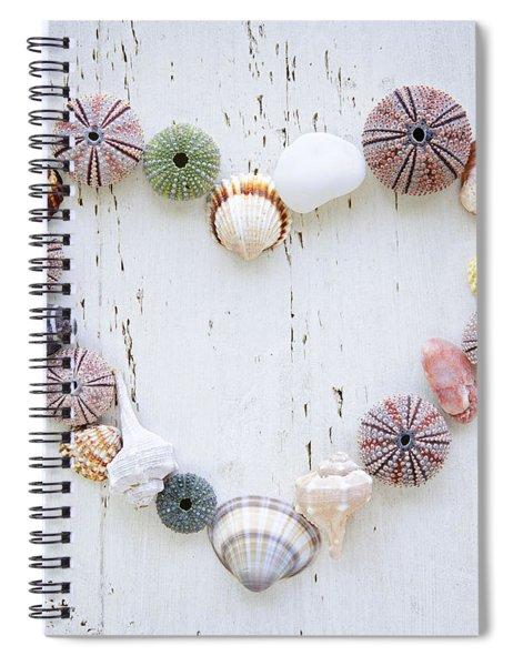 Heart Of Seashells And Rocks Spiral Notebook