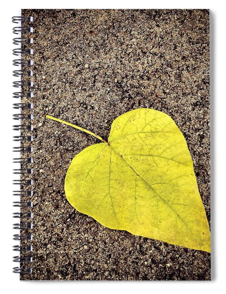 Heart Shaped Leaf On Pavement Spiral Notebook
