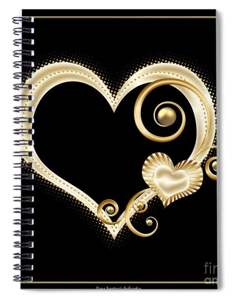 Hearts In Gold And Ivory On Black Spiral Notebook