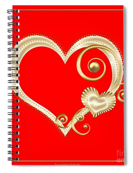Hearts In Gold And Ivory On Red Spiral Notebook