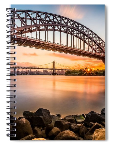 Hell Gate And Triboro Bridge At Sunset Spiral Notebook