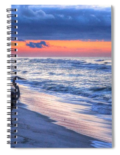 Heron On Mobile Beach Spiral Notebook