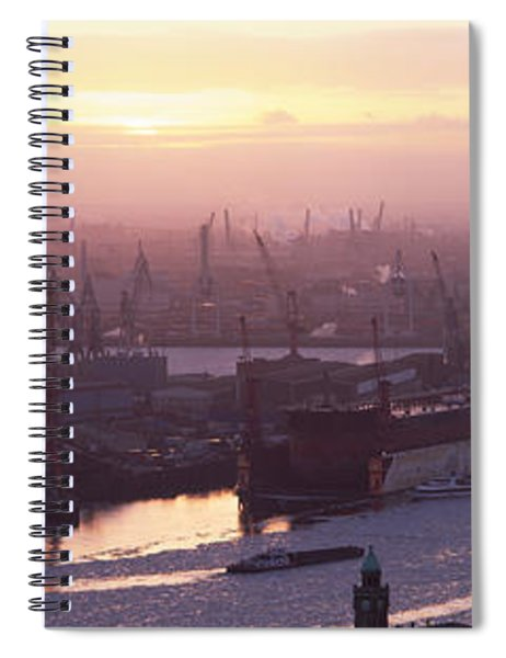 High Angle View Of Container Ships Spiral Notebook