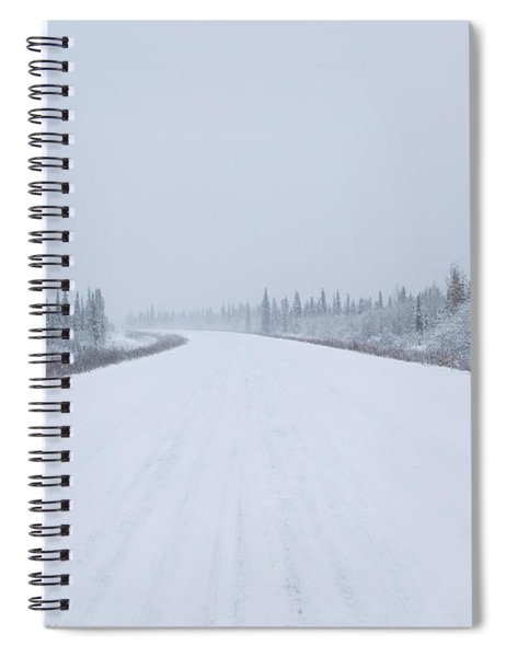 Highway Passing Through A Snow Covered Spiral Notebook