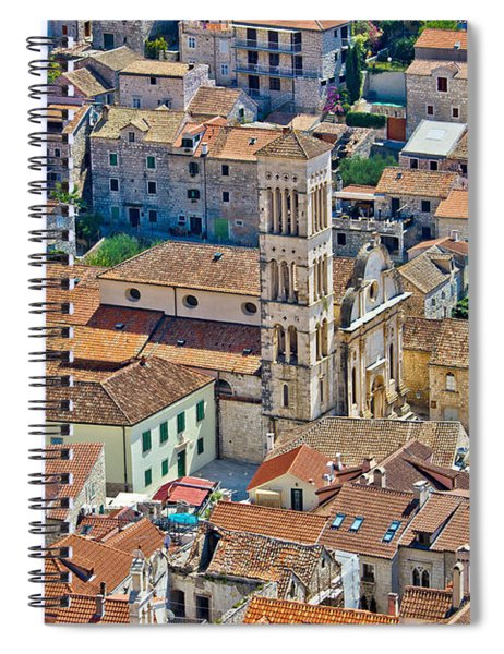 Historic Town Of Hvar Aerial View Spiral Notebook