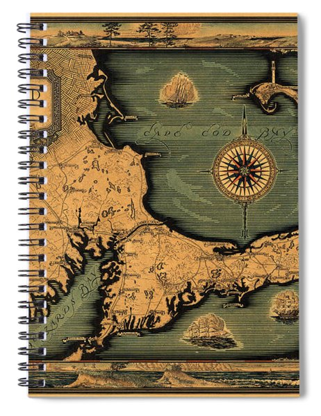 Historical Map Of Cape Cod Spiral Notebook