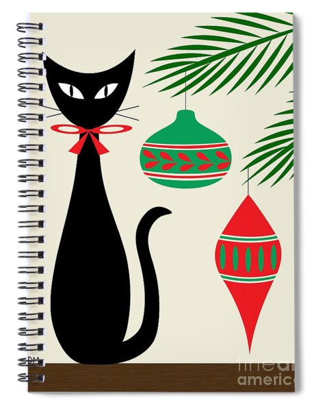 Holiday Cat On Cream Spiral Notebook