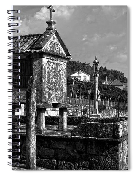Horreo And Cruceiro In Galicia Bw Spiral Notebook