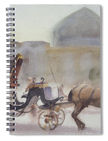 Horse And Carriage, Naghshe Jahan Square, Isfahan Wc On Paper Spiral Notebook