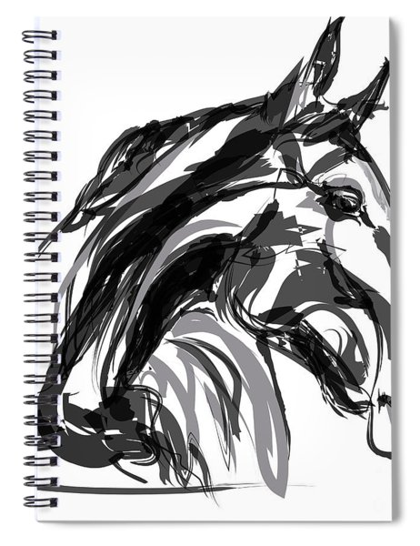 Horse- Apple -digi - Black And White Spiral Notebook