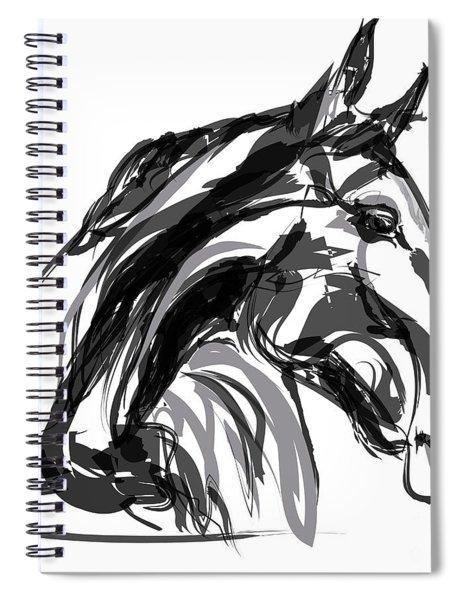 Horse- Apple -digi - Black And White Spiral Notebook