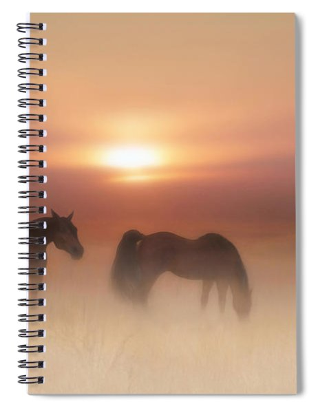 Horses In A Misty Dawn Spiral Notebook