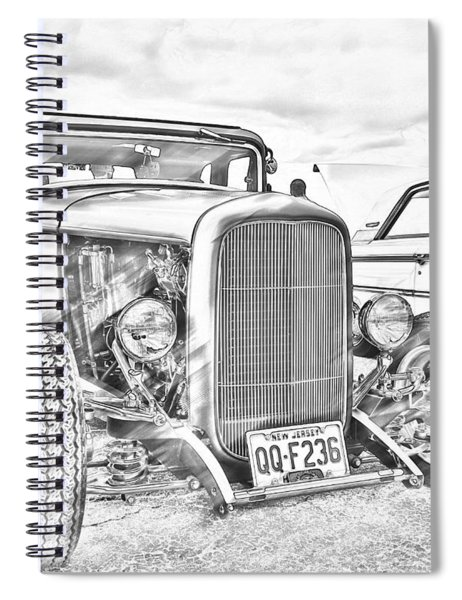 Hot Rod Faux Sketch Spiral Notebook