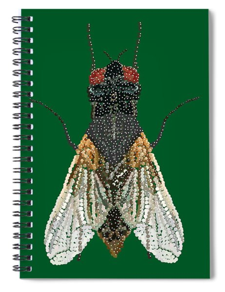 House Fly In Green Spiral Notebook