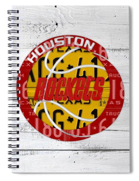 Houston Rockets Basketball Team Retro Logo Vintage Recycled Texas License Plate Art Spiral Notebook
