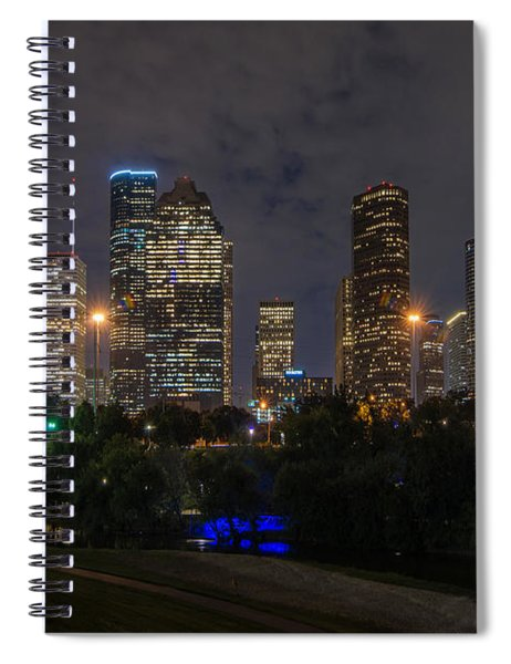 Houston Skyline At Night Spiral Notebook