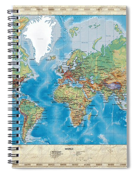 Huge Hi Res Mercator Projection Physical And Political Relief World Map Spiral Notebook