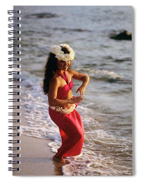 Hula Dancer Hawaii At Waters Edge Surf Spiral Notebook