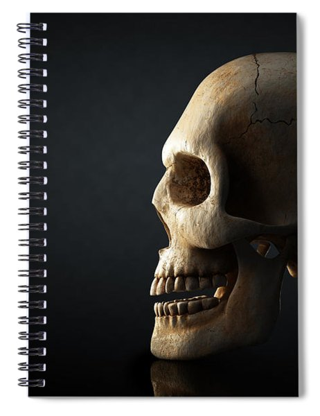 Human Skull Profile On Dark Background Spiral Notebook