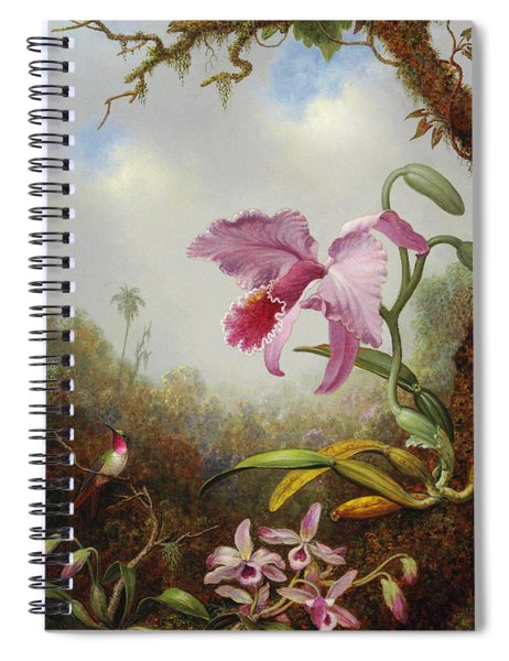 Hummingbird And Two Types Of Orchids Spiral Notebook