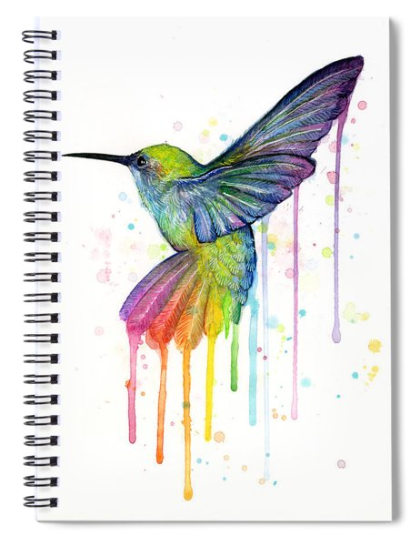 Hummingbird Of Watercolor Rainbow Spiral Notebook