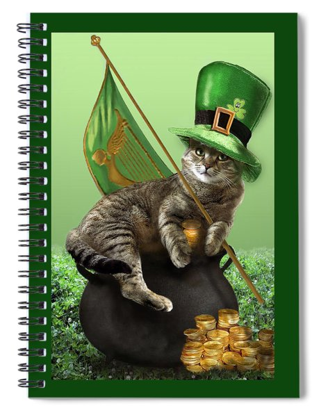 St. Patrick's Day Irish Cat Sitting On A Pot Of Gold Spiral Notebook by Regina Femrite
