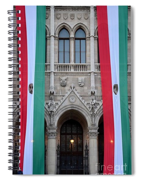 Hungary Flag Hanging At Parliament Budapest Spiral Notebook