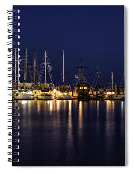 Hvar Harbor At Night Spiral Notebook