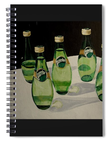 Perrier Bottled Water, Green Bottles, Conceptual Still Life Art Painting Print By Ai P. Nilson Spiral Notebook