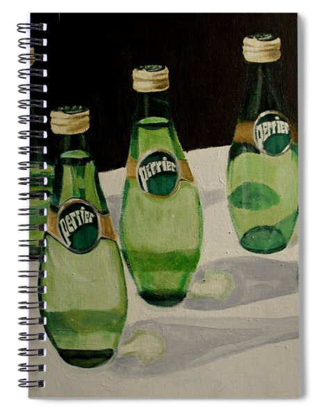 Perrier Bottled Water, Green Bottles, Conceptual Still Life Art Painting Print By Ai P. Nilson Spiral Notebook by Ai P Nilson