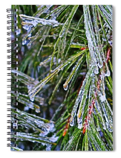 Ice On Pine Needles  Spiral Notebook