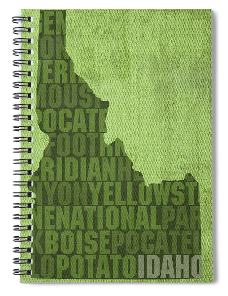 Idaho State Word Art Map On Canvas Spiral Notebook