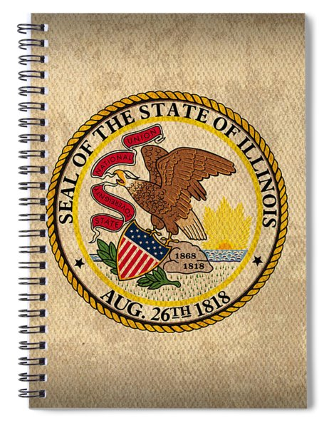 Illinois State Flag Art On Worn Canvas Spiral Notebook by Design Turnpike
