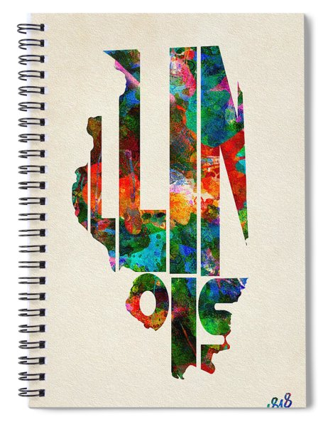 Illinois Typographic Watercolor Map Spiral Notebook