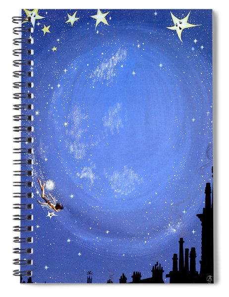 Illustration For Peter Pan By J M Barrie Spiral Notebook