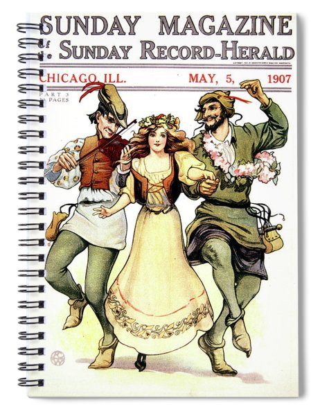Illustration Of Medieval May Day Folk Spiral Notebook