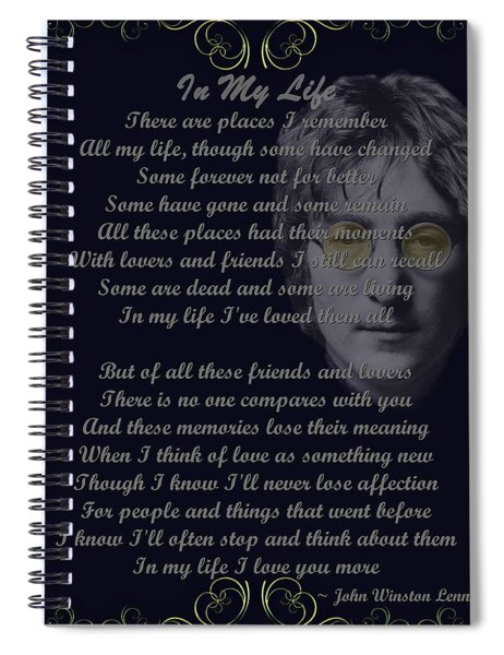 Spiral Notebook featuring the digital art In My Life Golden Scroll by Movie Poster Prints