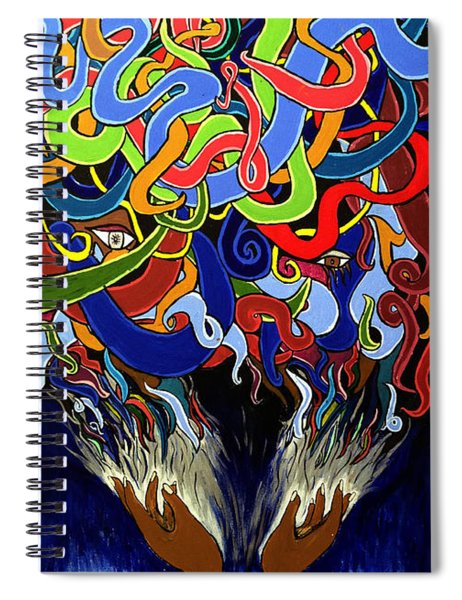 Colorful Abstract Art Painting, Creative Energy Flow Art, Afrofuturism Spiral Notebook