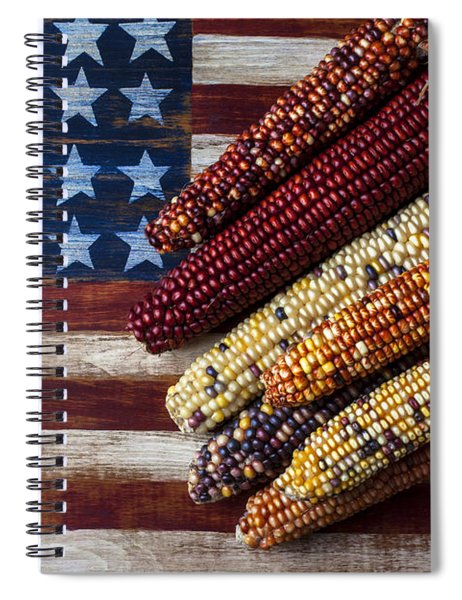 Indian Corn On American Flag Spiral Notebook