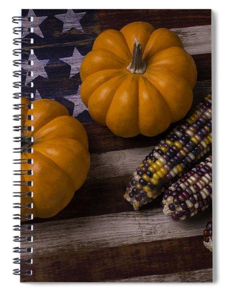 Indian Corn On Old Flag Spiral Notebook