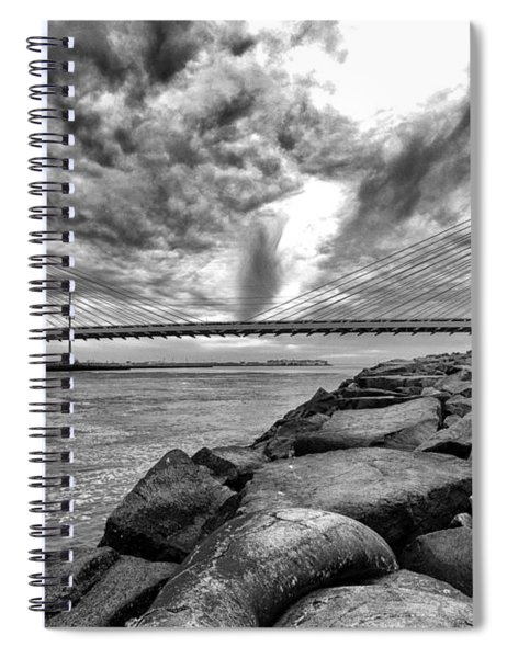Indian River Bridge Clouds Black And White Spiral Notebook