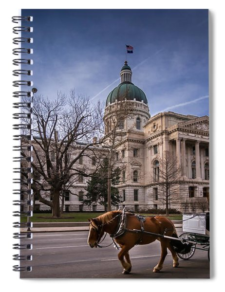 Indiana Capital Building - Front With Horse Passing Spiral Notebook