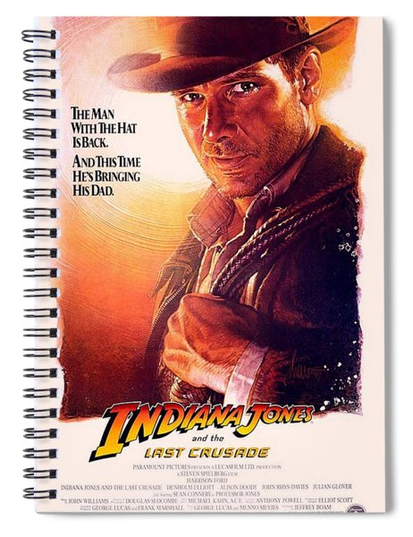 Spiral Notebook featuring the photograph Indiana Jones And The Last Crusade  by Movie Poster Prints