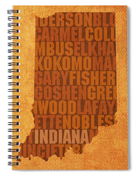 Indiana State Word Art On Canvas Spiral Notebook by Design Turnpike