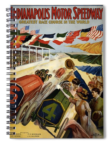 Indianapolis Motor Speedway - Vintage Lithograph Spiral Notebook