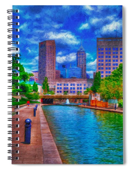 Indianapolis Skyline Canal View Digitally Painted Blue Spiral Notebook