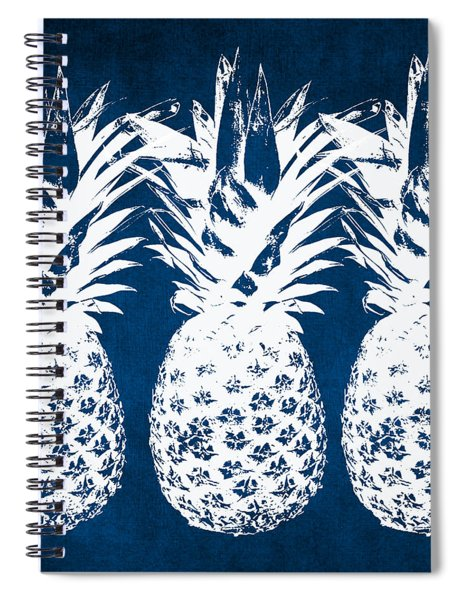 Indigo And White Pineapples Spiral Notebook by Linda Woods